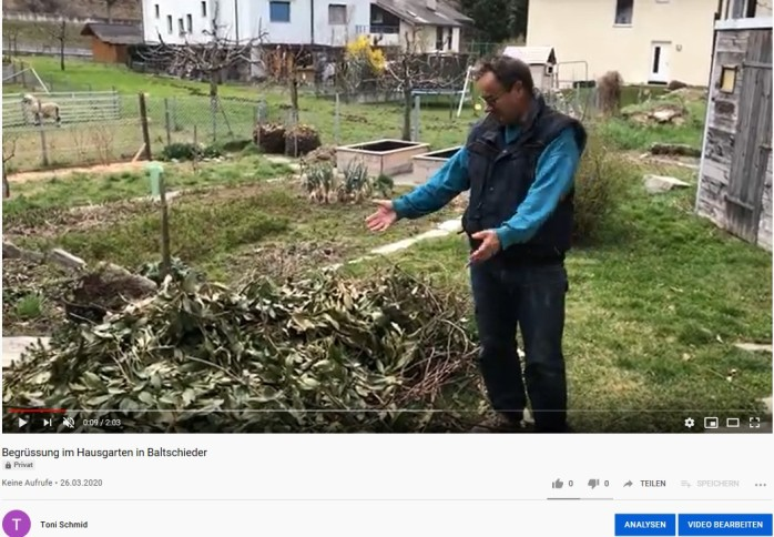 Screenschot Film YouTube Garten